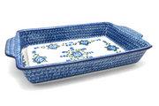 Ceramika Artystyczna Polish Pottery Baker - Rectangular with Tab Handles - 12 cups - Blue Poppy A56-163a (Ceramika Artystyczna)