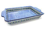 Ceramika Artystyczna Polish Pottery Baker - Rectangular with Tab Handles - 12 cups - Peacock Feather A56-1513a (Ceramika Artystyczna)