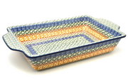 Ceramika Artystyczna Polish Pottery Baker - Rectangular with Tab Handles - 7 cups - Autumn A59-050a (Ceramika Artystyczna)