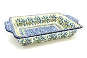 Ceramika Artystyczna Polish Pottery Baker - Rectangular with Tab Handles - 7 cups - Blue Bells A59-1432a (Ceramika Artystyczna)