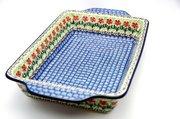 Ceramika Artystyczna Polish Pottery Baker - Rectangular with Tab Handles - 7 cups - Maraschino A59-1916a (Ceramika Artystyczna)
