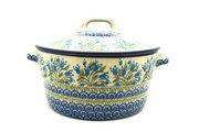 Ceramika Artystyczna Polish Pottery Baker - Round Covered Casserole - Blue Bells 278-1432a (Ceramika Artystyczna)