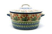 Ceramika Artystyczna Polish Pottery Baker - Round Covered Casserole - Crimson Bells 278-1437a (Ceramika Artystyczna)