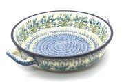 Ceramika Artystyczna Polish Pottery Baker - Round with Handles - Large - Blue Bells 420-1432a (Ceramika Artystyczna)