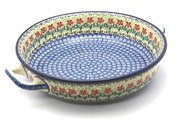 Ceramika Artystyczna Polish Pottery Baker - Round with Handles - Large - Maraschino 420-1916a (Ceramika Artystyczna)