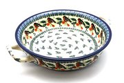 Ceramika Artystyczna Polish Pottery Baker - Round with Handles - Large - Red Robin 420-1257a (Ceramika Artystyczna)