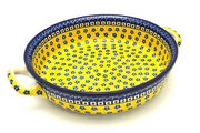 Ceramika Artystyczna Polish Pottery Baker - Round with Handles - Large - Sunburst 420-859a (Ceramika Artystyczna)