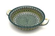 Ceramika Artystyczna Polish Pottery Baker - Round with Handles - Medium - Aztec Forest 419-1919q (Ceramika Artystyczna)
