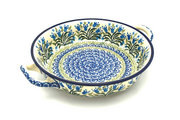 Ceramika Artystyczna Polish Pottery Baker - Round with Handles - Medium - Blue Bells 419-1432a (Ceramika Artystyczna)