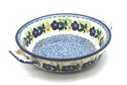 Ceramika Artystyczna Polish Pottery Baker - Round with Handles - Medium - Blue Pansy 419-1552a (Ceramika Artystyczna)