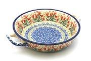 Ceramika Artystyczna Polish Pottery Baker - Round with Handles - Medium - Crimson Bells 419-1437a (Ceramika Artystyczna)