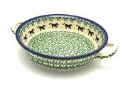 Ceramika Artystyczna Polish Pottery Baker - Round with Handles - Medium - Dark Horse 419-2241a (Ceramika Artystyczna)