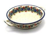 Ceramika Artystyczna Polish Pottery Baker - Round with Handles - Medium - Garden Party 419-1535a (Ceramika Artystyczna)