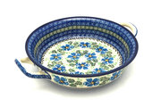Ceramika Artystyczna Polish Pottery Baker - Round with Handles - Medium - Morning Glory 419-1915a (Ceramika Artystyczna)