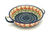 Ceramika Artystyczna Polish Pottery Baker - Round with Handles - Medium - Peach Spring Daisy 419-560a (Ceramika Artystyczna)