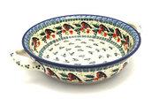 Ceramika Artystyczna Polish Pottery Baker - Round with Handles - Medium - Red Robin 419-1257a (Ceramika Artystyczna)