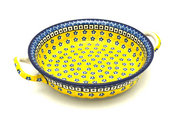 Ceramika Artystyczna Polish Pottery Baker - Round with Handles - Medium - Sunburst 419-859a (Ceramika Artystyczna)