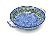 Ceramika Artystyczna Polish Pottery Baker - Round with Handles - Medium - Tranquility 419-1858a (Ceramika Artystyczna)