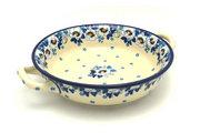 Ceramika Artystyczna Polish Pottery Baker - Round with Handles - Medium - White Poppy 419-2222a (Ceramika Artystyczna)