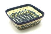 Ceramika Artystyczna Polish Pottery Baker - Square - Blue Spring Daisy 430-614a (Ceramika Artystyczna)
