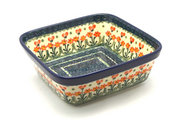 Ceramika Artystyczna Polish Pottery Baker - Square - Peach Spring Daisy 430-560a (Ceramika Artystyczna)