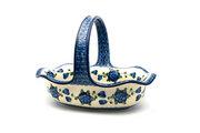 Ceramika Artystyczna Polish Pottery Basket - Large Oval - Blue Poppy 876-163a (Ceramika Artystyczna)
