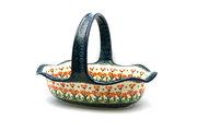 Ceramika Artystyczna Polish Pottery Basket - Large Oval - Peach Spring Daisy 876-560a (Ceramika Artystyczna)