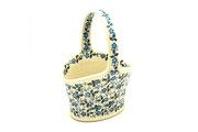 Ceramika Artystyczna Polish Pottery Basket - Small - Forget-Me-Knot A30-2089a (Ceramika Artystyczna)