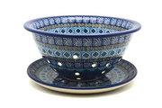 Ceramika Artystyczna Polish Pottery Berry Bowl with Saucer - Aztec Sky 470-1917a (Ceramika Artystyczna)