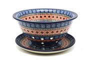 Ceramika Artystyczna Polish Pottery Berry Bowl with Saucer - Aztec Sun 470-1350a (Ceramika Artystyczna)