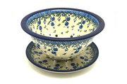 Ceramika Artystyczna Polish Pottery Berry Bowl with Saucer - Blue Clover 470-1978a (Ceramika Artystyczna)