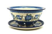 Ceramika Artystyczna Polish Pottery Berry Bowl with Saucer - Blue Poppy 470-163a (Ceramika Artystyczna)