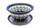 Ceramika Artystyczna Polish Pottery Berry Bowl with Saucer - Blue Spring Daisy 470-614a (Ceramika Artystyczna)
