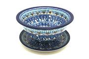 Ceramika Artystyczna Polish Pottery Berry Bowl with Saucer - Blue Yonder 470-2187a (Ceramika Artystyczna)