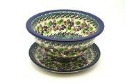 Ceramika Artystyczna Polish Pottery Berry Bowl with Saucer - Burgundy Berry Green 470-1415a (Ceramika Artystyczna)