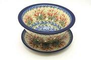 Ceramika Artystyczna Polish Pottery Berry Bowl with Saucer - Crimson Bells 470-1437a (Ceramika Artystyczna)
