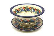 Ceramika Artystyczna Polish Pottery Berry Bowl with Saucer - Garden Party 470-1535a (Ceramika Artystyczna)