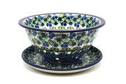 Ceramika Artystyczna Polish Pottery Berry Bowl with Saucer - Huckleberry 470-1413a (Ceramika Artystyczna)