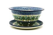 Ceramika Artystyczna Polish Pottery Berry Bowl with Saucer - Ivy Trail 470-1898a (Ceramika Artystyczna)