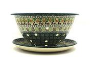 Ceramika Artystyczna Polish Pottery Berry Bowl with Saucer - Mint Chip 470-2195q (Ceramika Artystyczna)