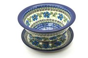 Ceramika Artystyczna Polish Pottery Berry Bowl with Saucer - Morning Glory 470-1915a (Ceramika Artystyczna)