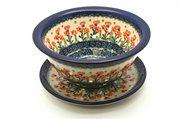 Ceramika Artystyczna Polish Pottery Berry Bowl with Saucer - Peach Spring Daisy 470-560a (Ceramika Artystyczna)