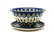 Ceramika Artystyczna Polish Pottery Berry Bowl with Saucer - Peacock 470-054a (Ceramika Artystyczna)