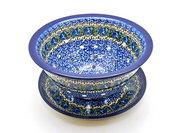 Ceramika Artystyczna Polish Pottery Berry Bowl with Saucer - Peacock Feather 470-1513a (Ceramika Artystyczna)