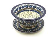 Ceramika Artystyczna Polish Pottery Berry Bowl with Saucer - Primrose 470-854a (Ceramika Artystyczna)