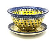 Ceramika Artystyczna Polish Pottery Berry Bowl with Saucer - Sunburst 470-859a (Ceramika Artystyczna)