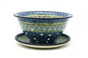 Ceramika Artystyczna Polish Pottery Berry Bowl with Saucer - Tranquility 470-1858a (Ceramika Artystyczna)