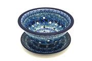 Ceramika Artystyczna Polish Pottery Berry Bowl with Saucer - Unikat Signature - U3639 470-U3639 (Ceramika Artystyczna)