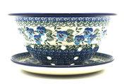 Ceramika Artystyczna Polish Pottery Berry Bowl with Saucer - Winter Viola 470-2273a (Ceramika Artystyczna)
