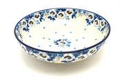 "Ceramika Artystyczna Polish Pottery Bowl - Contemporary - Medium (9"") - White Poppy B91-2222a (Ceramika Artystyczna)"
